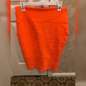 Neon Orange Midi Skirt